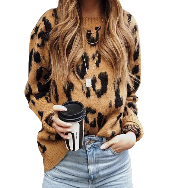 Camel + Black Leopard Sweater - Hudson Square Boutique