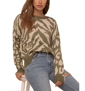 Olive + Ivory Zebra Sweater - Hudson Square Boutique