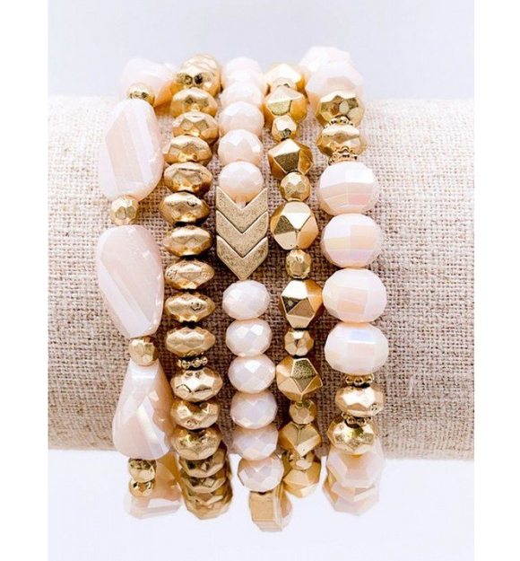 5 Strand Chevron Bracelet Set - Hudson Square Boutique