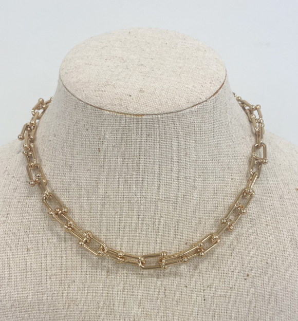 Rosey Gold Linked Necklace - Hudson Square Boutique LLC