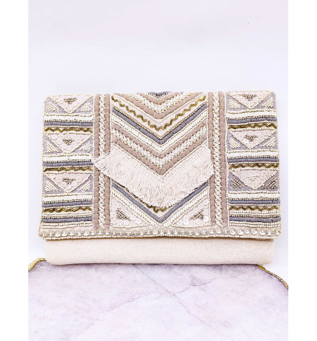 Hand Beaded Canvas Clutch