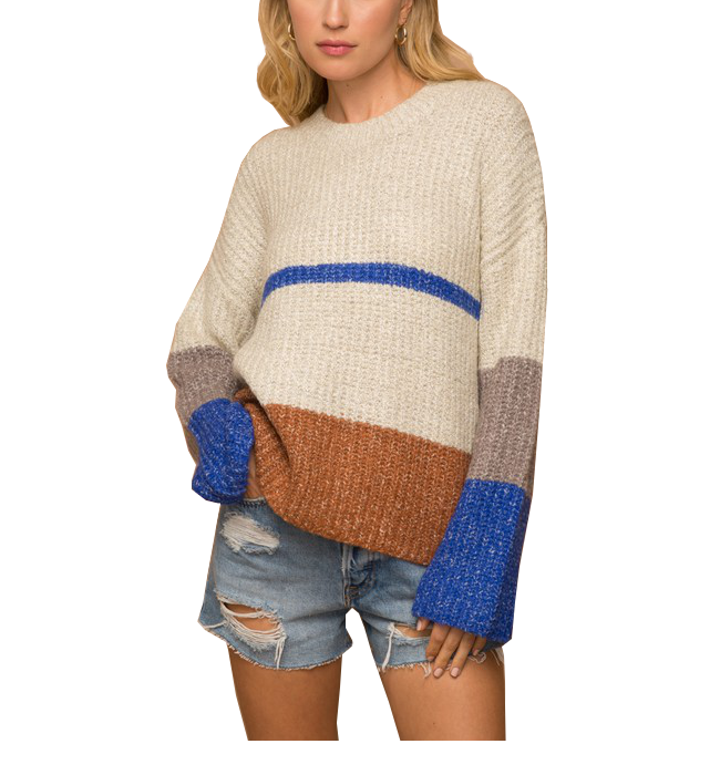 Color Blocked Sweater with Cobalt