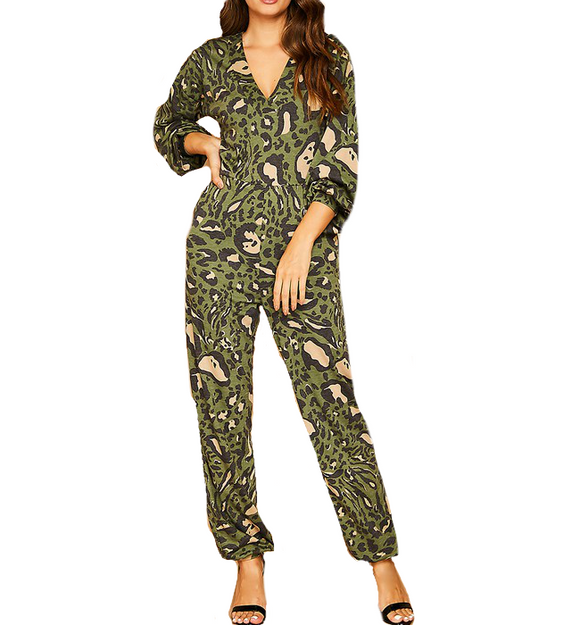 Printed Olive Jumpsuit - Hudson Square Boutique