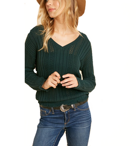 Hunter Green Smocked Knitted Top