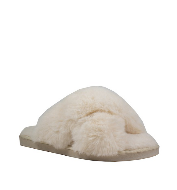 Plush Ivory Slippers - Hudson Square Boutique LLC