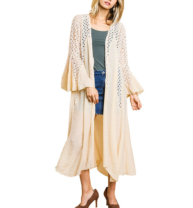 Crochet Long Cardigan with Bell Sleeves