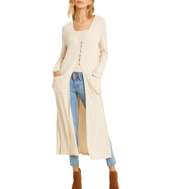 Ribbed Hacci Long Cardigan