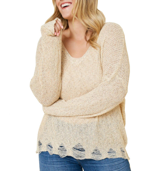 Cream Distressed V Neck Long Sleeve Knit Sweater Top