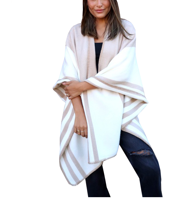 Tan & White Shawl/Cape