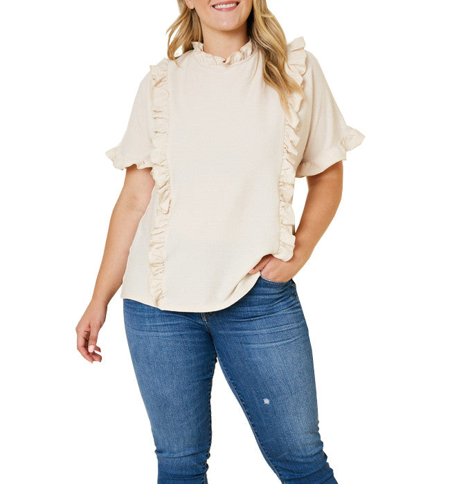 Cream Ruffle Mock Neck Dolman Tee - Hudson Square Boutique