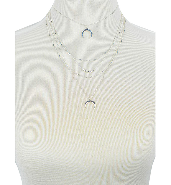 4 Row Crescent Charm + Metal Beads Necklace - Hudson Square Boutique LLC