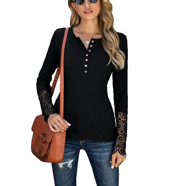 Crochet Lace Arm Henley Top - Hudson Square Boutique