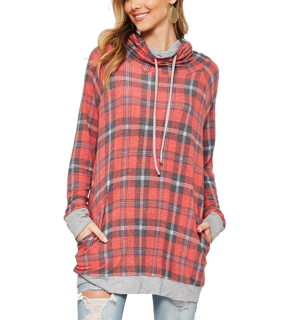 Plaid Tunic Top - Hudson Square Boutique