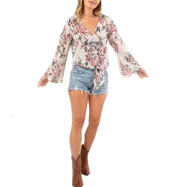 Creped Floral Tie Front Top