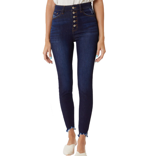 Dark Button Front Skinny Jeans - Hudson Square Boutique