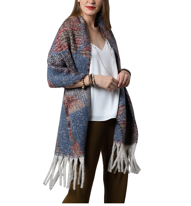 Oversized Chunky Scarf with Denim