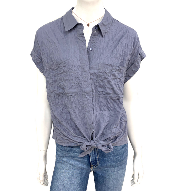 Premium Linen Blue Tie Front Top - Hudson Square Boutique