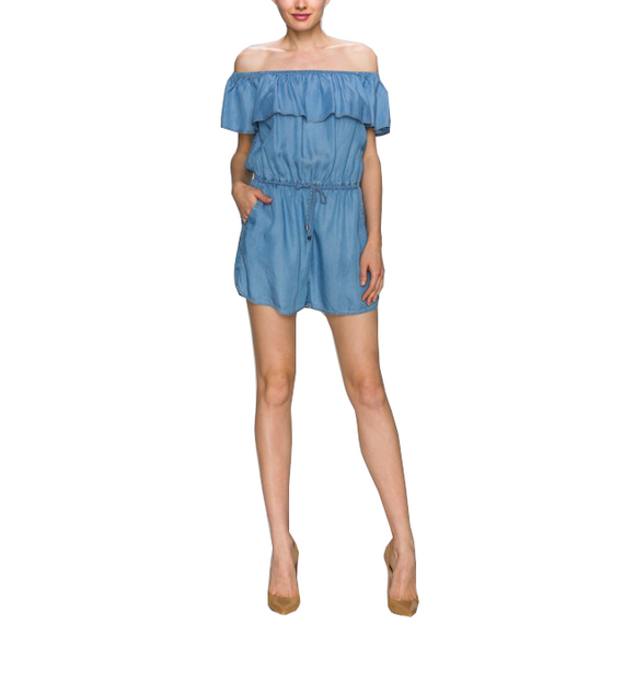 Soft Denim Off Shoulder Romper - Hudson Square Boutique