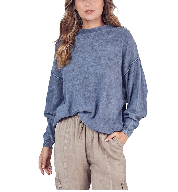 Mock Neck Batwing Sweater