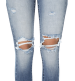 High Waisted Light Distressed Denim