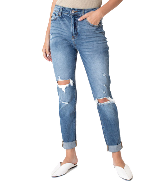 Distressed MOM Jeans - Hudson Square Boutique