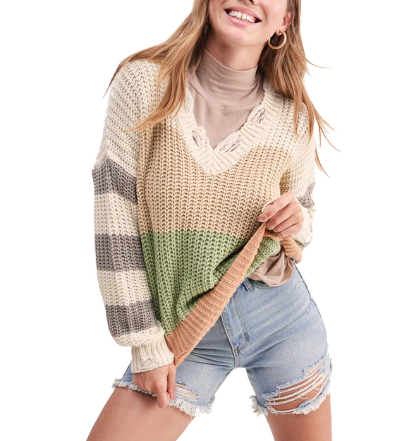 Neutral Striped Distressed Sweater