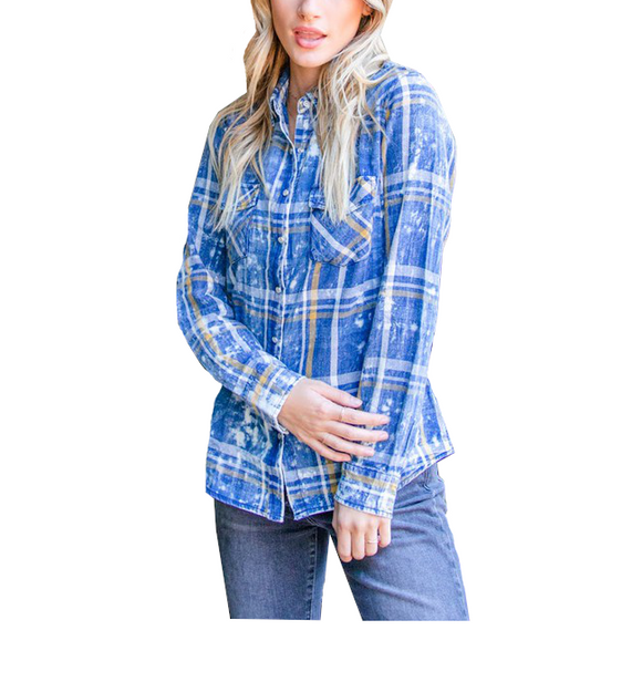 Blue Plaid Snap Front Top