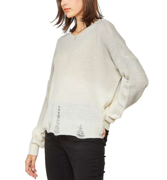 Distressed Ombre Sweater Grey & Cream