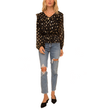 Black & Gold Dotted Blouse