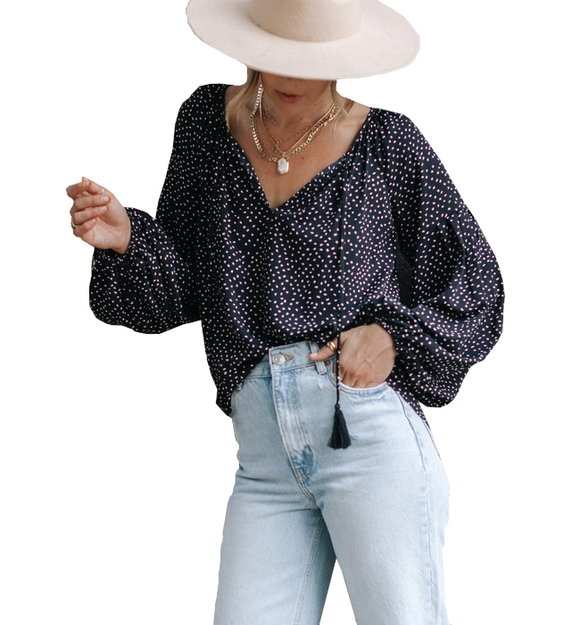 Black + White Dot Peasant Top - Hudson Square Boutique