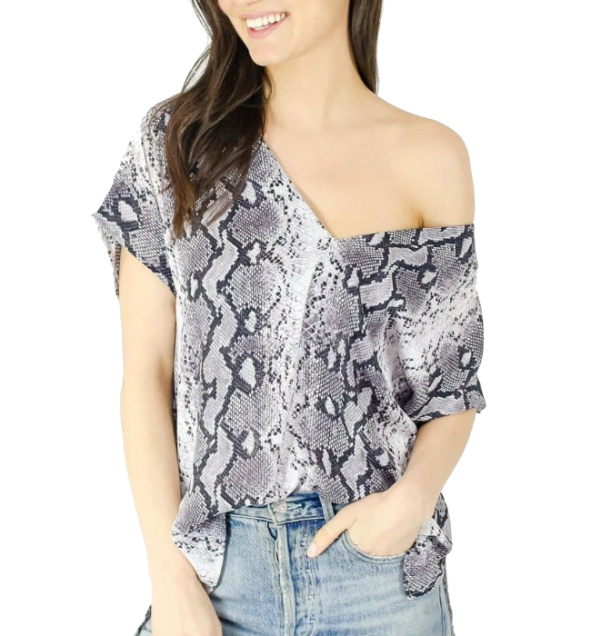 Double V Printed Blouse