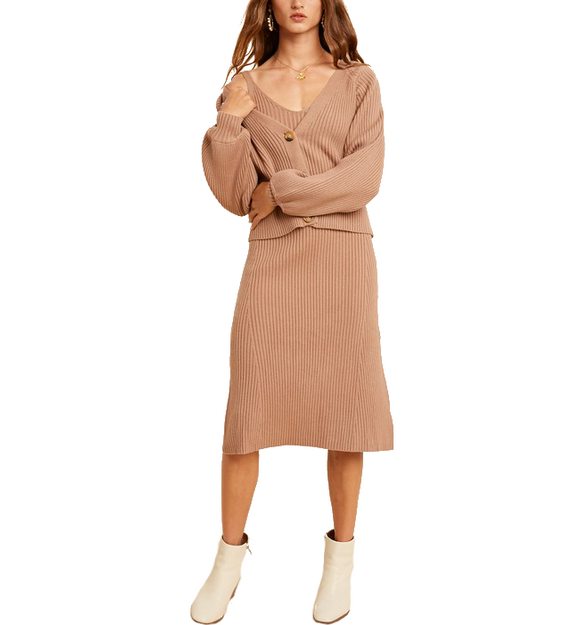 Ribbed Sweater Dress & Cardi SET - Hudson Square Boutique