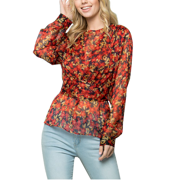 Red Floral Tie Blouse - Hudson Square Boutique