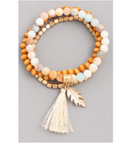 Layered Bracelet Tassel Feather - Hudson Square Boutique
