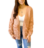 Layered Fringe Knit Cardi - Hudson Square Boutique LLC