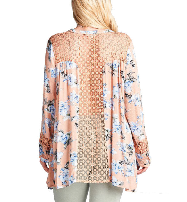 Flirty Floral Button Front Lace Back Long Sleeve Blouse