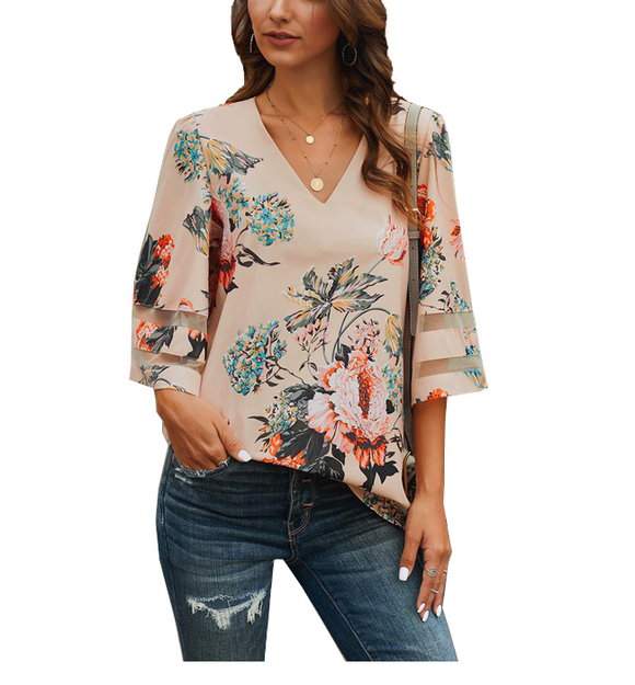 Apricot Flared Sleeve Floral Blouse - Hudson Square Boutique