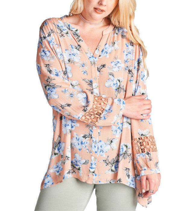 Flirty Floral Button Front Lace Back Long Sleeve Blouse - Hudson Square Boutique