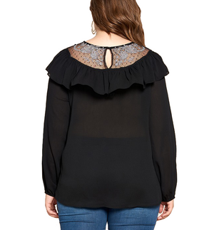 Florence Ruffle & Lace Black Blouse - Hudson Square Boutique