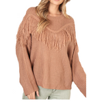 Camel Fringe Sweater - Hudson Square Boutique