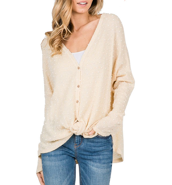 Cream Button Front Tie Waist Long Sleeve Top