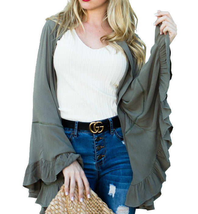 Olive Ruffle Wide Sleeve Cardigan