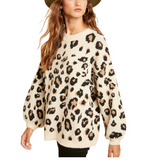Plush Leopard Sweater Cream