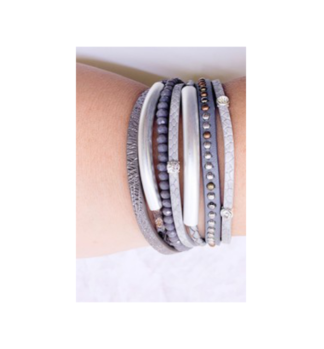 Metallic Leather Multi Strand Bracelet