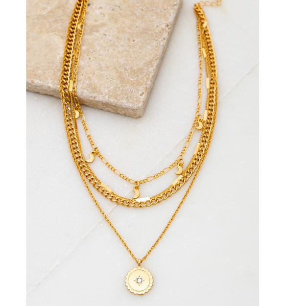 4 Layer Gold Charm Necklace - Hudson Square Boutique LLC