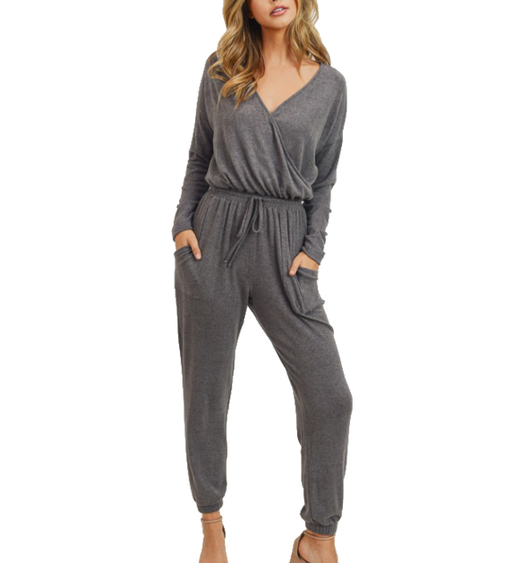 Charcoal Brushed Knit Jumpsuit