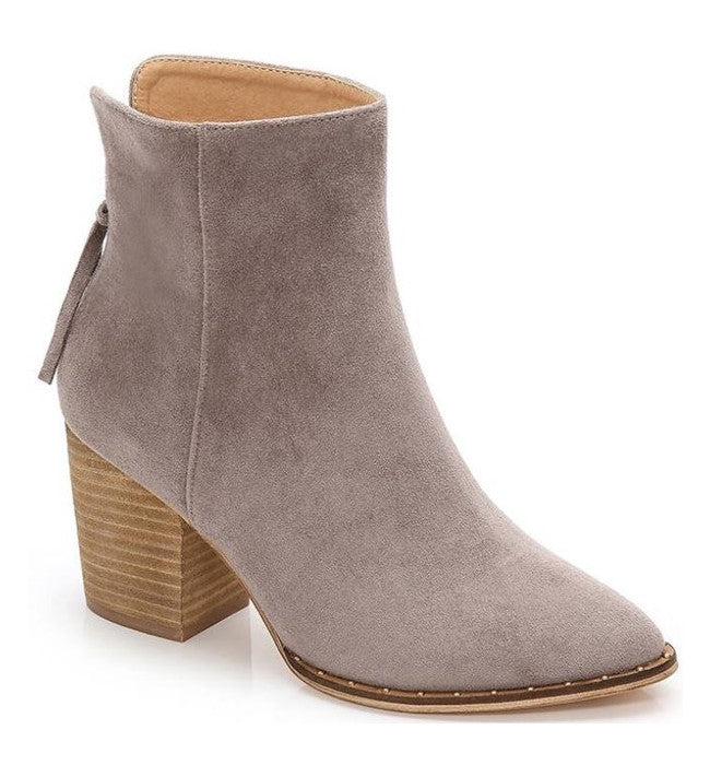 Chunky Pointy Booties Grey - Hudson Square Boutique