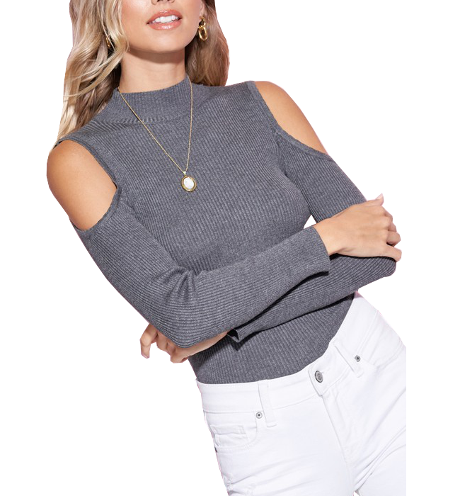 Charcoal Slim Fit Cold Shoulder