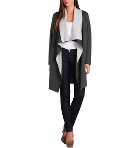 Color Blocked Draped Cardi in Gray