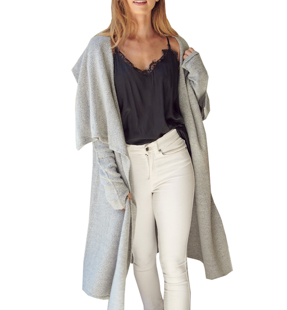 Draped Knit Cardi in Gray